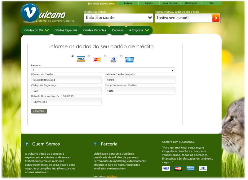 Tela de pagamento dentro do próprio site